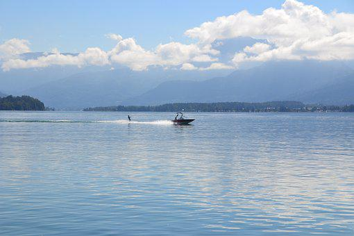 Lake, Mountains, Clouds, Boat, Water, Water Skier, Sky