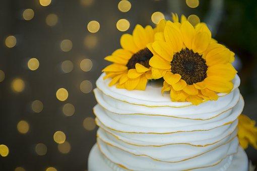 Wedding Cake, Sunflower, Cake, Wedding, Celebration