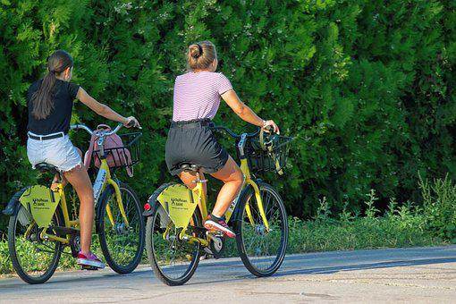 Women, Young, Bicycles, People, Bicycling, Alley, Park