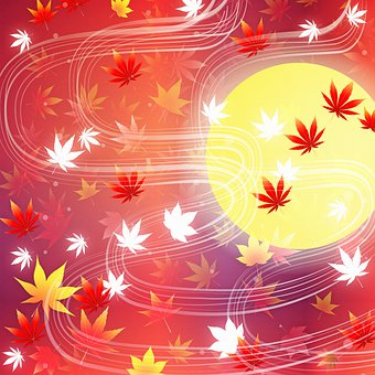 Moon, Leaves, Fall, Autumn, Night, Halloween, Colorful