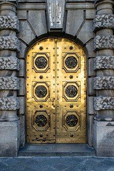 Portal, Door, Gold, Golden Door, Entrance