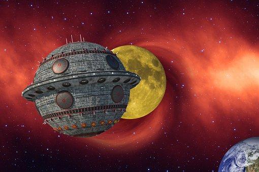 Spaceship, Moon, Earth, Ufo, Alien, Universe, Fantasy