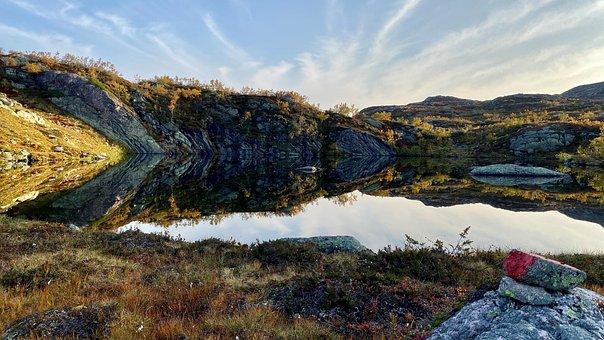 Mountains, Lake, Pond, Reflection