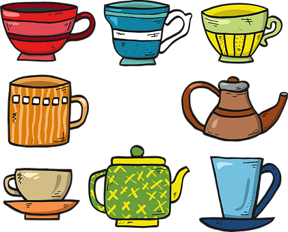 Mugs, Cups, Cartoon, Tea, Coffee, Drawing, Colorful