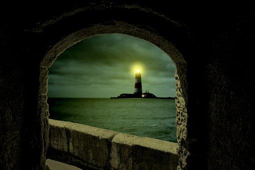 Tower, Lighhouse, Ocean, Sea, View, Lantern, Night