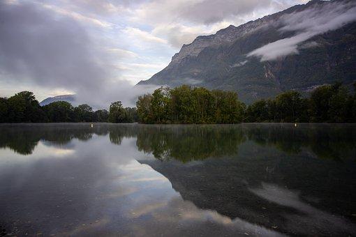 Mountains, Lake, Reflection, Gresy-sur-isère, Mirroring