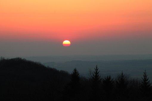 Sunset, Silhouette, Landscape, Dusk, Sun, Orange Sky