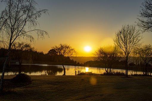 Lake, Sunrise, Nature, Sun, Sunlight, Sun Reflection