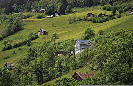 Hill, Meadows, Cabin, Cottage, Steeply, Alpine, Village