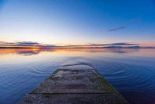 Seascape, Pier, Sunrise, Dawn, Water, Sea, Ocean