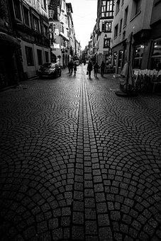 Street, Alley, Lane, Path, Downtown, Monochrome, Paving