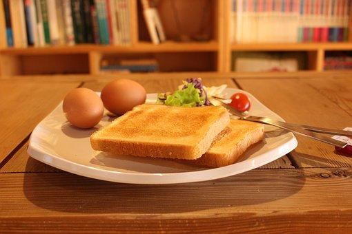 Breakfast, Meal, Breakfast Plate, Toast, Eggs, Bread