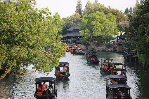 Boats, Canal, River, Waterway, Black Awning Boats
