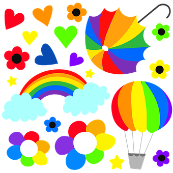 Rainbow, Clouds, Flowers, Hot Air Balloon, Colorful