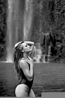 Waterfalls, Model, Female, Woman, Young Woman, Girl