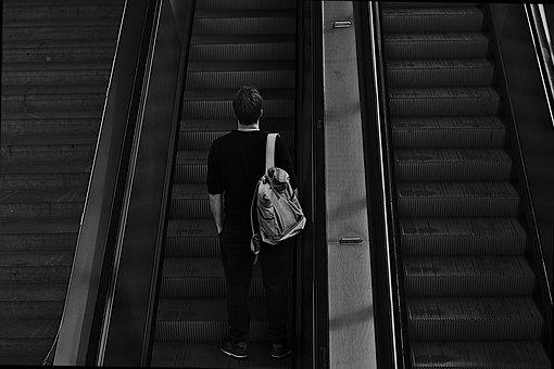 Escalator, Man, Commuter, Commuting, Going Up, Urban
