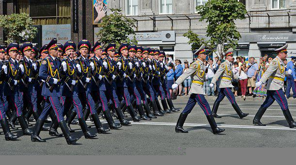 Parade, Military, Ukrainian, Capital, Kyiv, Marching