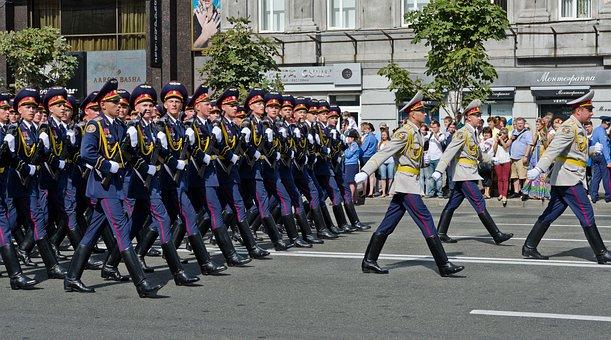 Parade, Military, Ukrainian, Capital, Kyiv, Marching