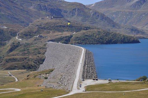 Lake, Dam, Mountains, Road, Lane, Nature, Landscape