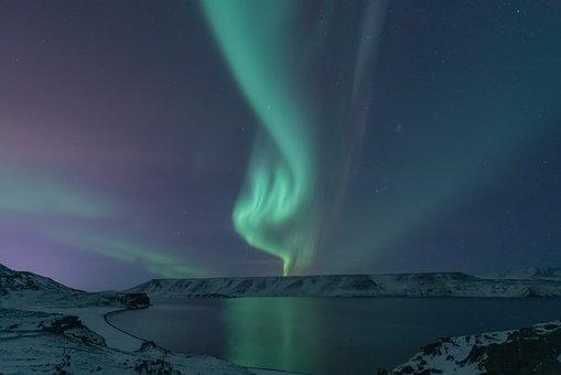 Aurora Borealis, Lake, Snow, Aurora, Polar Lights