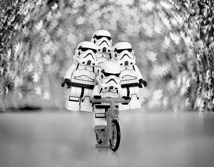 Stormtrooper, Bicycle, Lego, Toys, Miniature