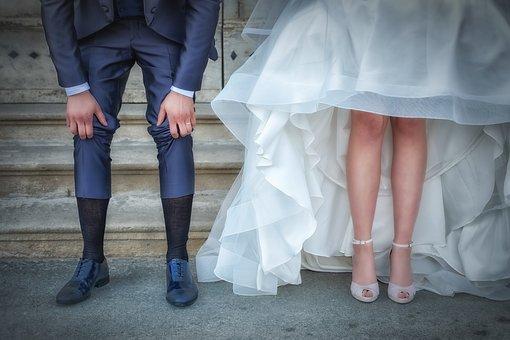 Legs, Newlyweds, Bride And Groom, Bride, Groom