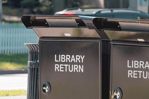 Library Return Bin, Library Return Cart, Bin