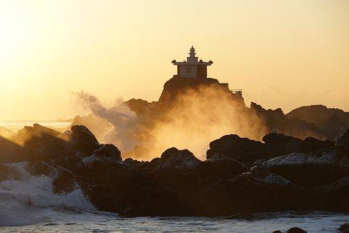 Sea, Ocean, Lighthouse, Seawaves, Waves, Rocks, Sunset