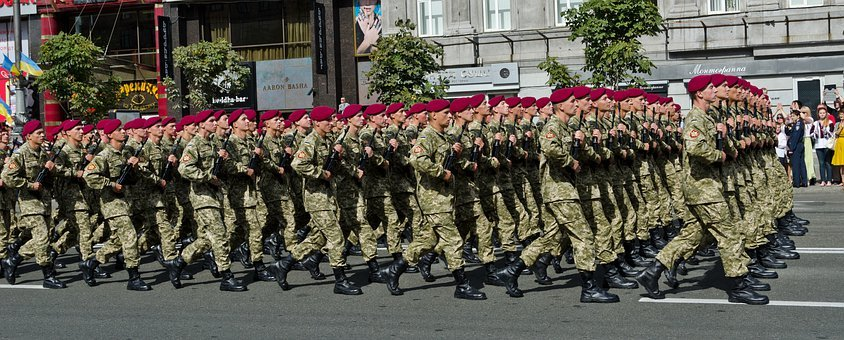 Parade, Military, Ukrainian, Capital, Kyiv, Street, Men