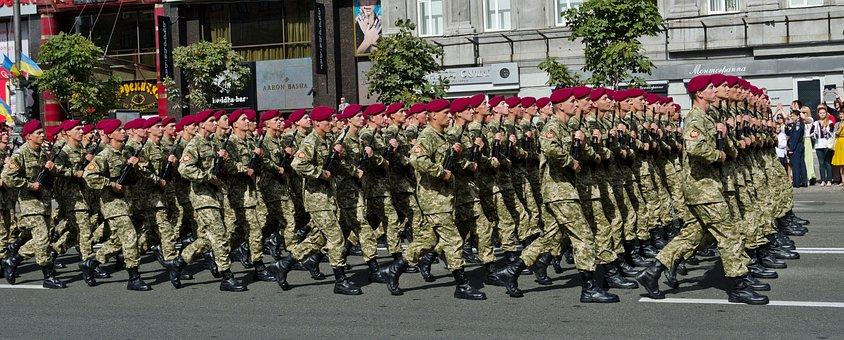 Parade, Military, Ukrainian, Capital, Kyiv, Street, Men