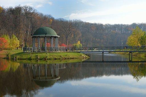 Park, Pavilion, Lake, Bridge, Pergola, Water