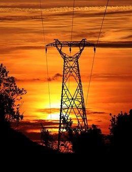 Sunset, Sun, Powerlines, Overhead Power Lines