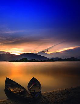 Canoes, Boats, Lake, Sunset, Rowing, Mountains, Coast