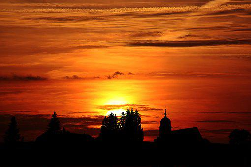 Sunset, Silhouettes, Village, Church, Trees, Sun