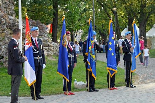 Police, Flags, Uniform, Celebration, Serbia, Europe