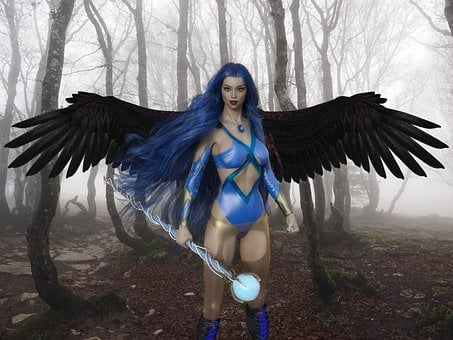 Woman, Warrior, Wings, Witch, Horror, Fantasy, Magic