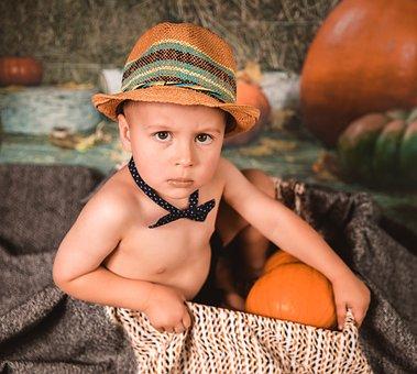 Portrait, Baby, Halloween, Pumpkins, Baby Boy
