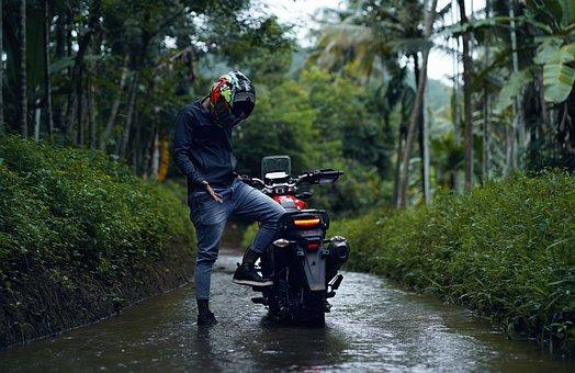 Motorcycle, Motorbike, Bike, Nature, Rider, Upset, Road