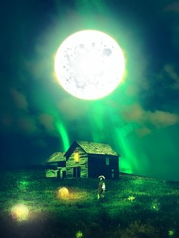 House, Moon, Night, Abandoned, Ruins, Surrealism