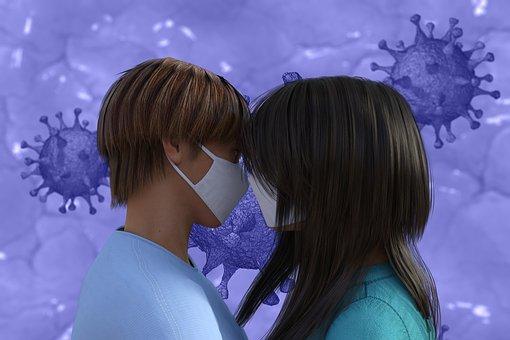 Couple, Avatar, Love, Face Masks, Covid-19, Virus