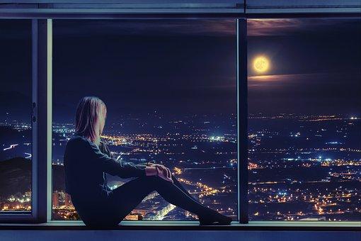 Woman, Sitting, Window, Moon, By The Window, Moonlight