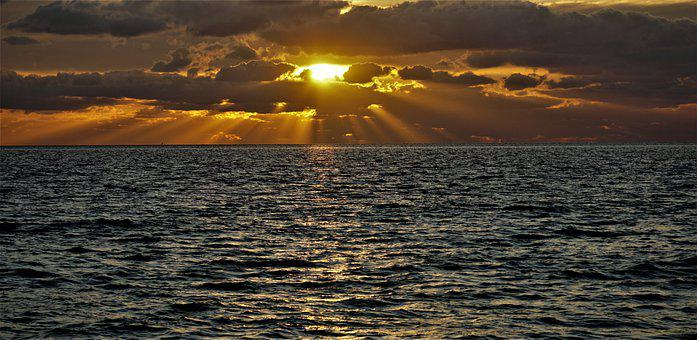 North Sea, Sea, Sunset, Ocean, Water, Wave, Horizon