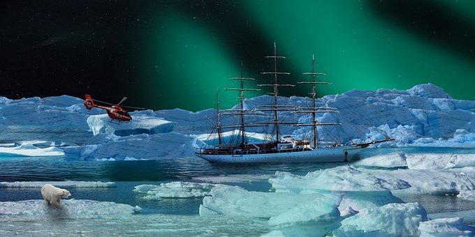 Ice, Arctic, Northern Lights, Polar Bear, Nature, Sea