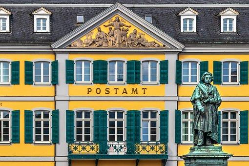 Post Office, Building, Statue, Facade, Edifice