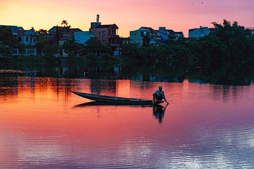 Boat, Rowing, Fishing, Fisherman, River, Village