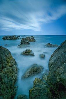 Sea, Ocean, Rocks, Flowing Water