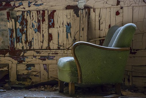 Armchair, Ruin, Shabby, Room, Old, Abandoned