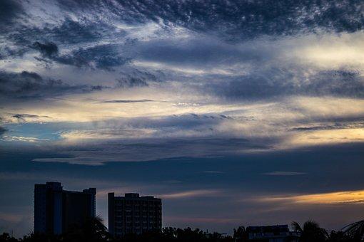 Clouds, Sky, Buildings, Silhouette, Sunset, Skyscape
