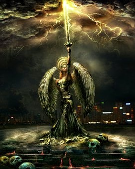 Woman, Angel, Wings, Character, Sword, Fire, Burning