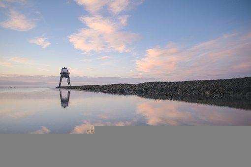 Watchtower, Tower, Reflection, Mirroring, Sea, Ocean